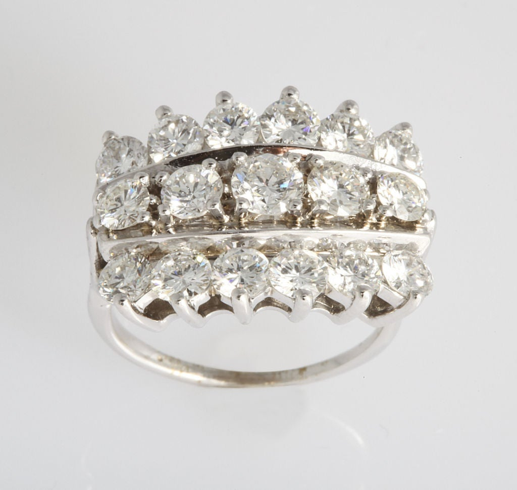 Triple row diamond ring for sale at 1stdibs for Triple j fine jewelry