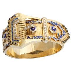 Antique Victorian Diamond and Enamel Bangle