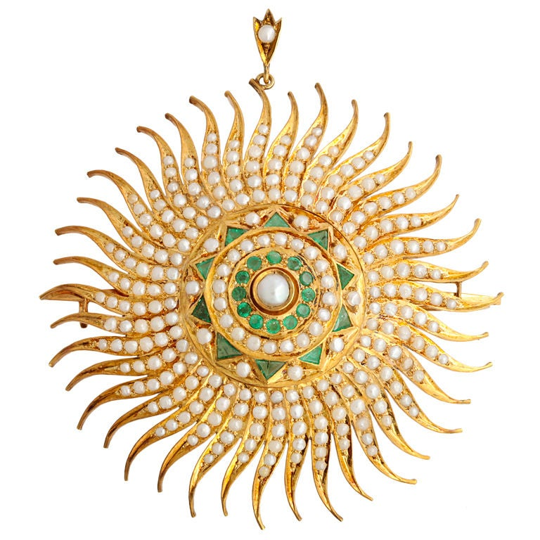 Mughal Style Pearl And Emerald Brooch