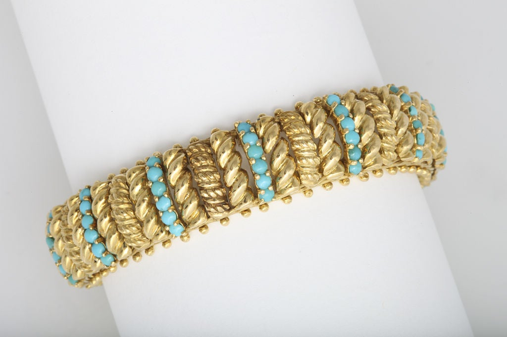 Women's TIFFANY & CO Turquoise and Gold Bracelet For Sale