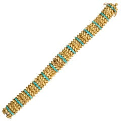 TIFFANY & CO Turquoise and Gold Bracelet