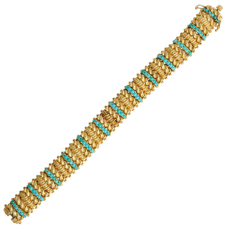TIFFANY & CO Turquoise and Gold Bracelet For Sale