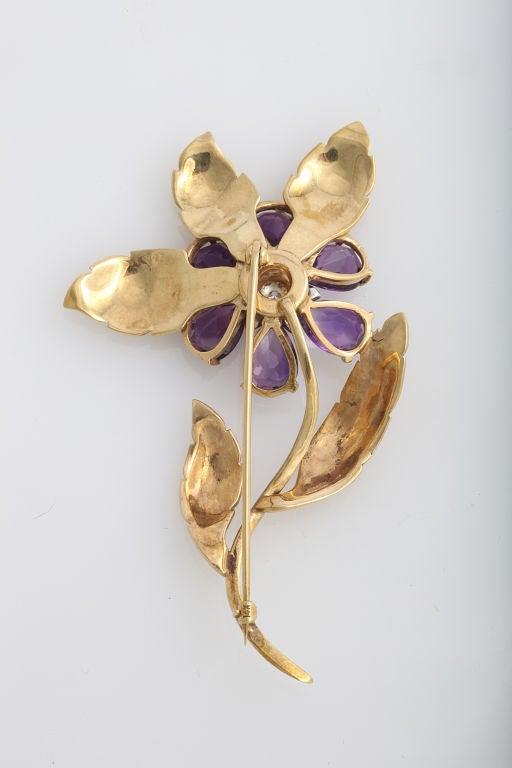 Women's Retro Amethyst and Diamond Brooch For Sale