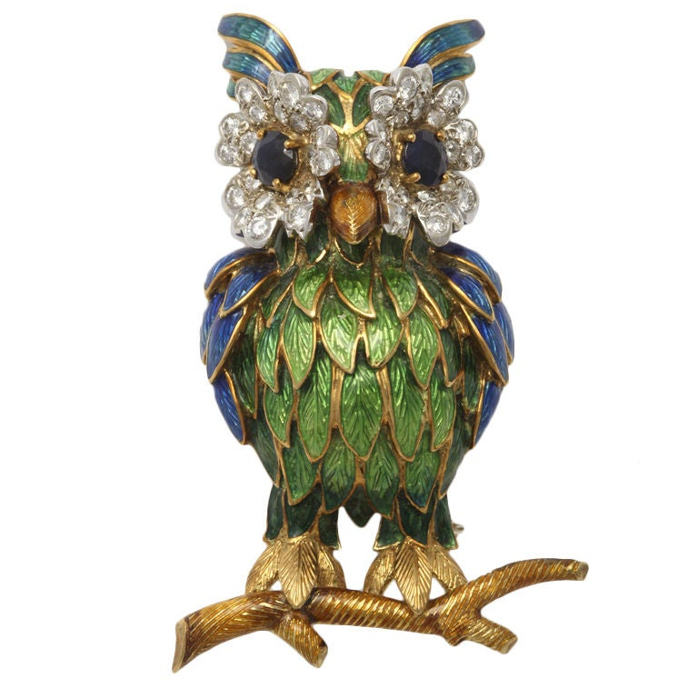 Whimsical Enamel Owl Brooch
