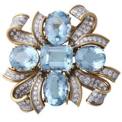 TIFFANY & CO SHLUMBERGER Diamond, Gold, and Aquamarine Brooch