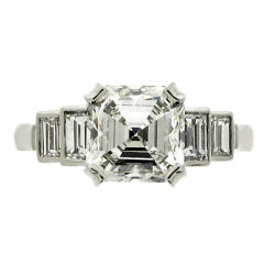 Art Deco Asscher Cut Diamond Ring of 2.53 Carat HRD Report