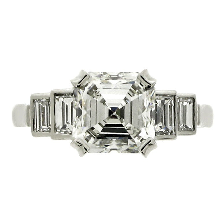 deco asscher cut ring of 2 53 carats hrd report for sale at 1stdibs
