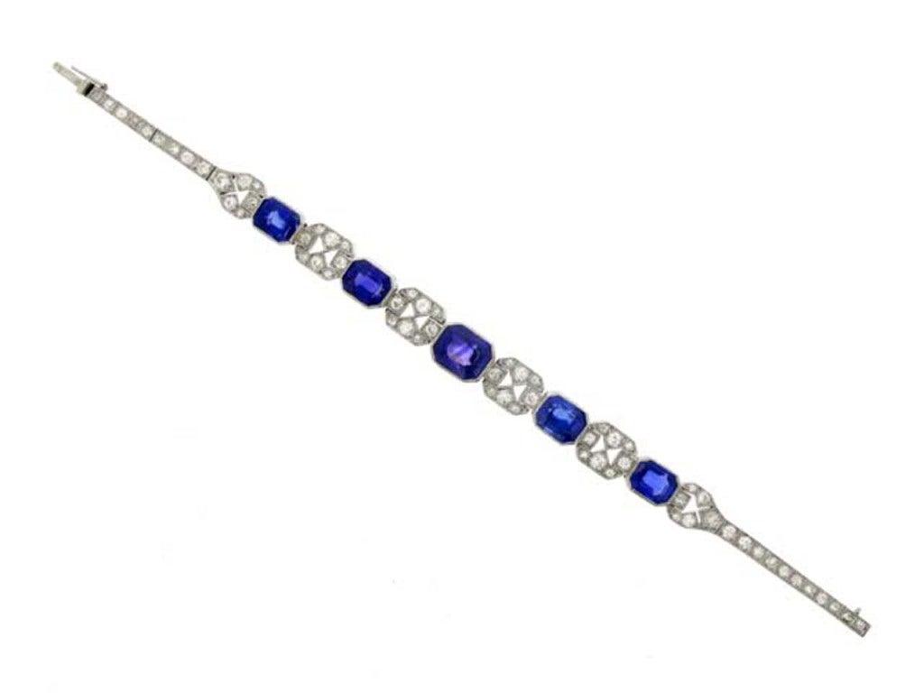 Art Deco Natural Unenhanced Sapphire Diamond Bracelet, circa 1935. 2