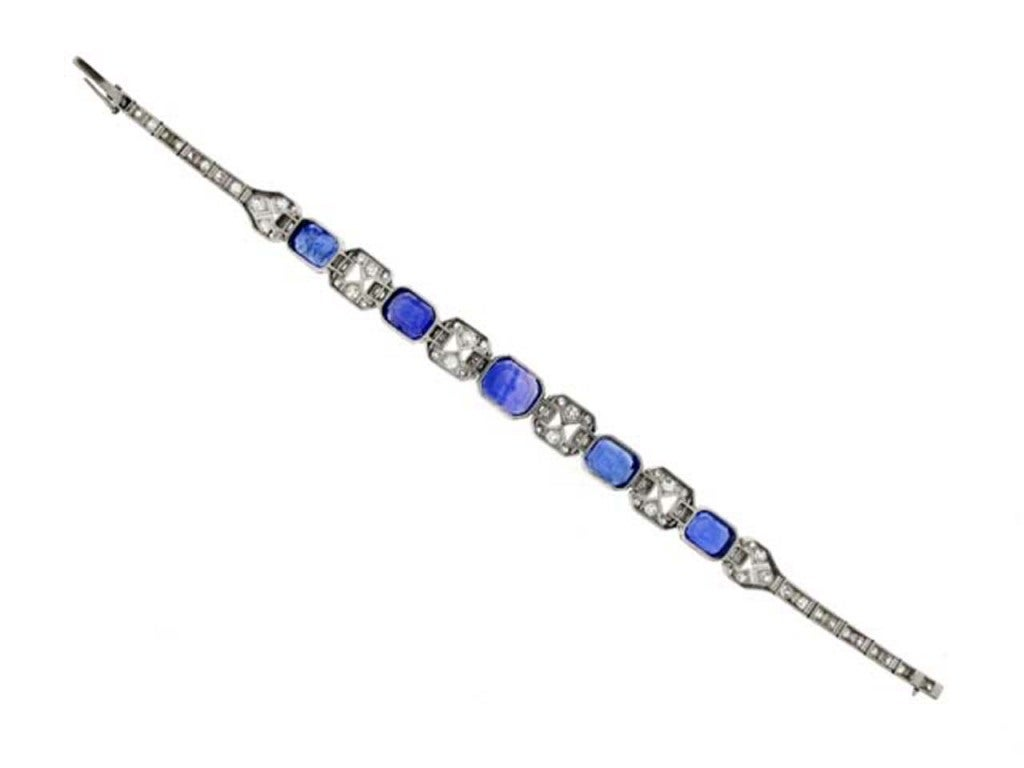 Art Deco Natural Unenhanced Sapphire Diamond Bracelet, circa 1935. 3