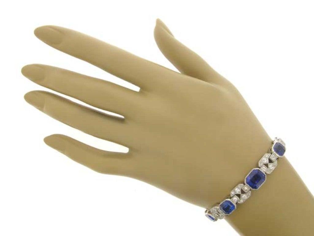 Art Deco Natural Unenhanced Sapphire Diamond Bracelet, circa 1935. 4