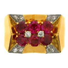 Natural Unenhanced Ruby and Diamond Cocktail Ring by Boucheron