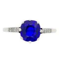'Royal Blue' Kashmir Natural Unenhanced Sapphire and Diamond Ring