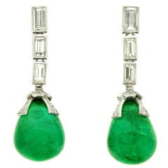 Drop Natural Unenhanced  Emerald and Diamond Earrings, circa 1970