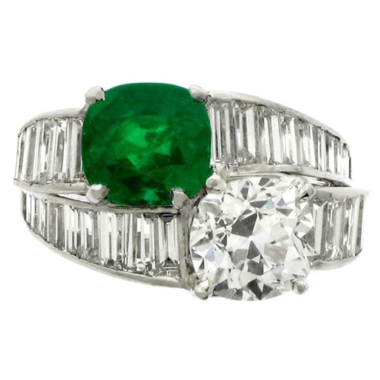 Tiffany & Co. Natural Unenhanced Emerald Diamond Ring