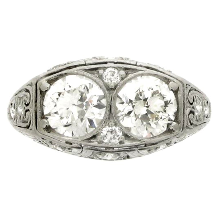 BAILEY, BANKS and BIDDLE 1920's Two Stone Diamond Ring. at 1stdibs