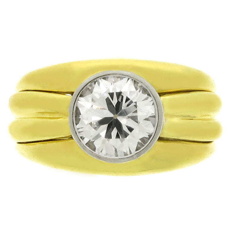 Boucheron Solitaire Diamond Gold Ring