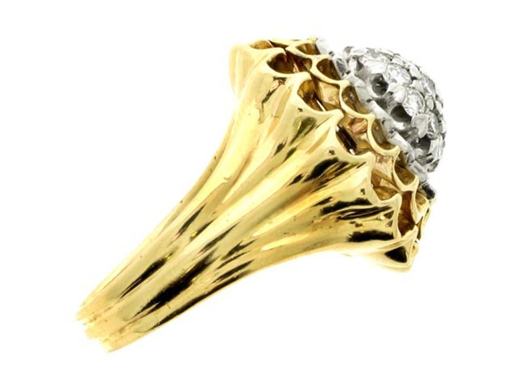 Tiffany and Co 1960s Diamond Gold Chrysanthemum Ring For Sale at