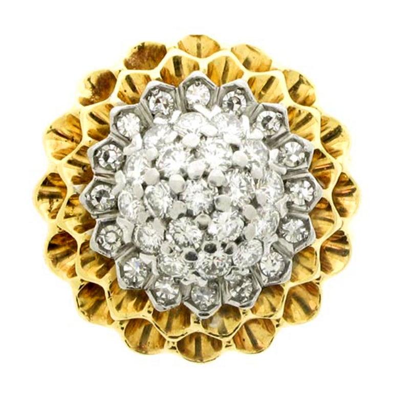 Tiffany & Co. 1960s Diamond Gold Chrysanthemum Ring