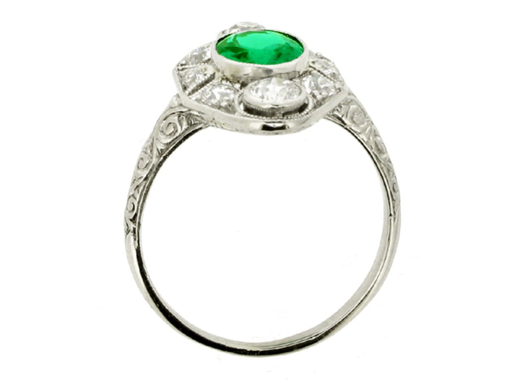 BLACK, STARR & FROST Edwardian Natural Unenhanced Emerald and Diamond Ring 3