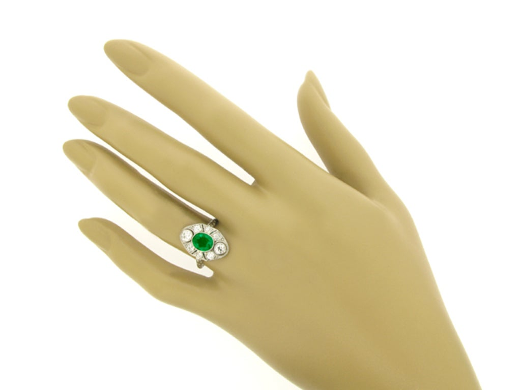 BLACK, STARR & FROST Edwardian Natural Unenhanced Emerald and Diamond Ring 4