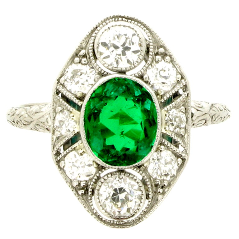 BLACK, STARR & FROST Edwardian Natural Unenhanced Emerald and Diamond Ring 1