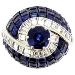 Magnificent Invisibly Set Sapphire Diamond Ring