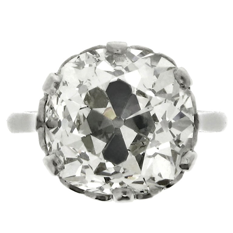 Cushion Shaped Solitaire Old Mine Diamond Ring For Sale At