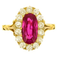 Antique Natural Burmese Ruby and Diamond Ring