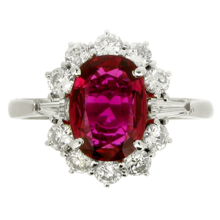 Natural Unenhanced Ruby and Diamond Cluster Ring