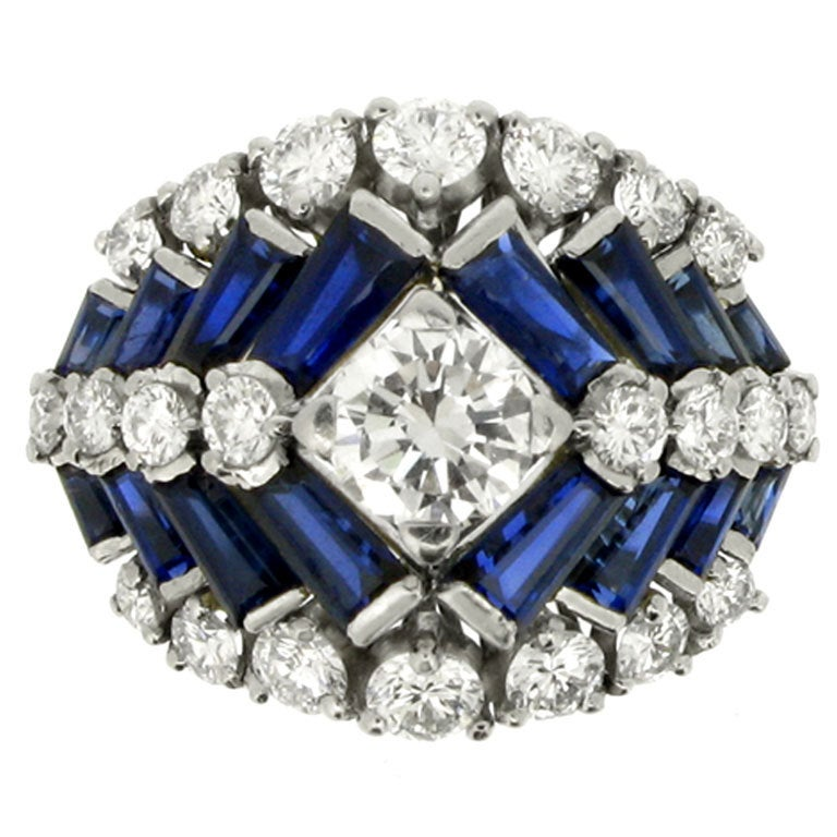 Tiffany & Co. Natural Unenhanced Sapphire and Diamond Ring