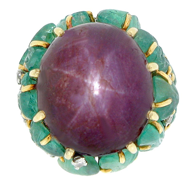 Marchak Natural Unenhanced Star Ruby Carved Emerald and Diamond Ring