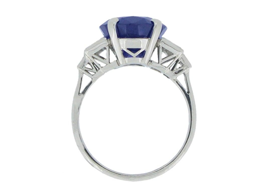 6.99 Cts Unenhanced Burmese Sapphire and Diamond Ring, 3