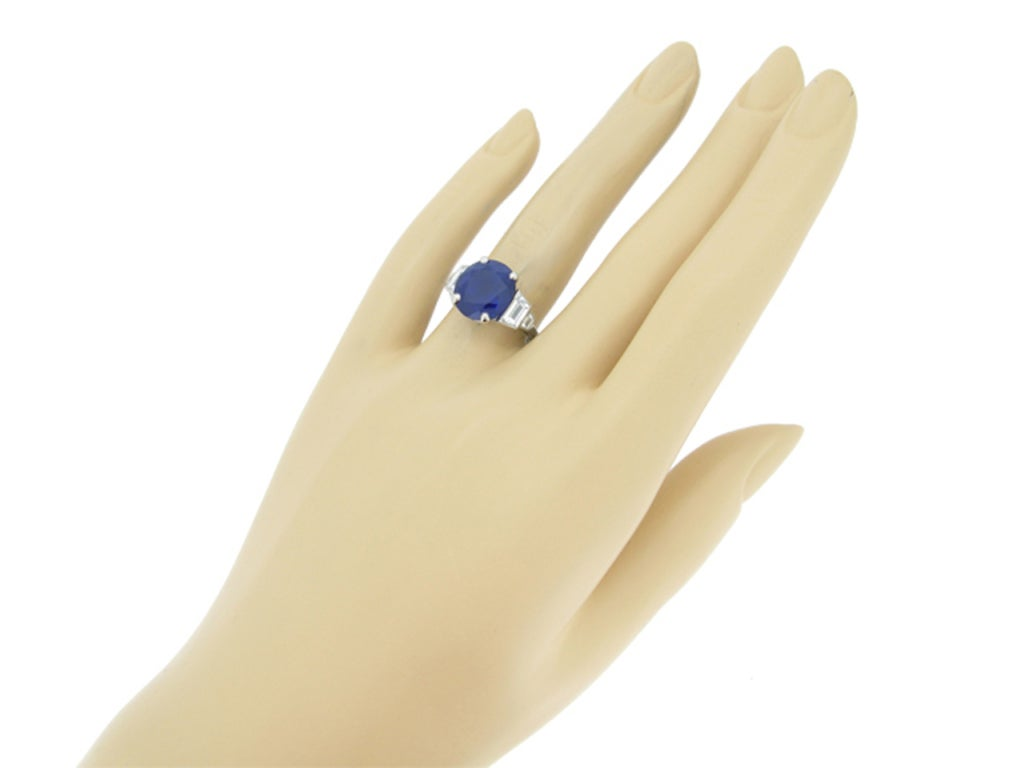 6.99 Cts Unenhanced Burmese Sapphire and Diamond Ring, 4