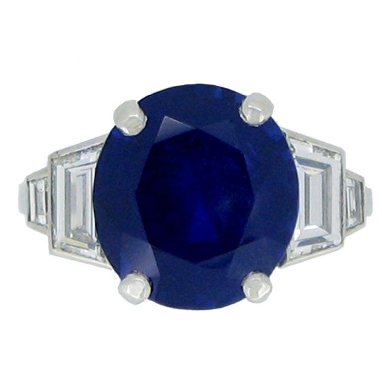 6.99 Cts Unenhanced Burmese Sapphire and Diamond Ring, 1