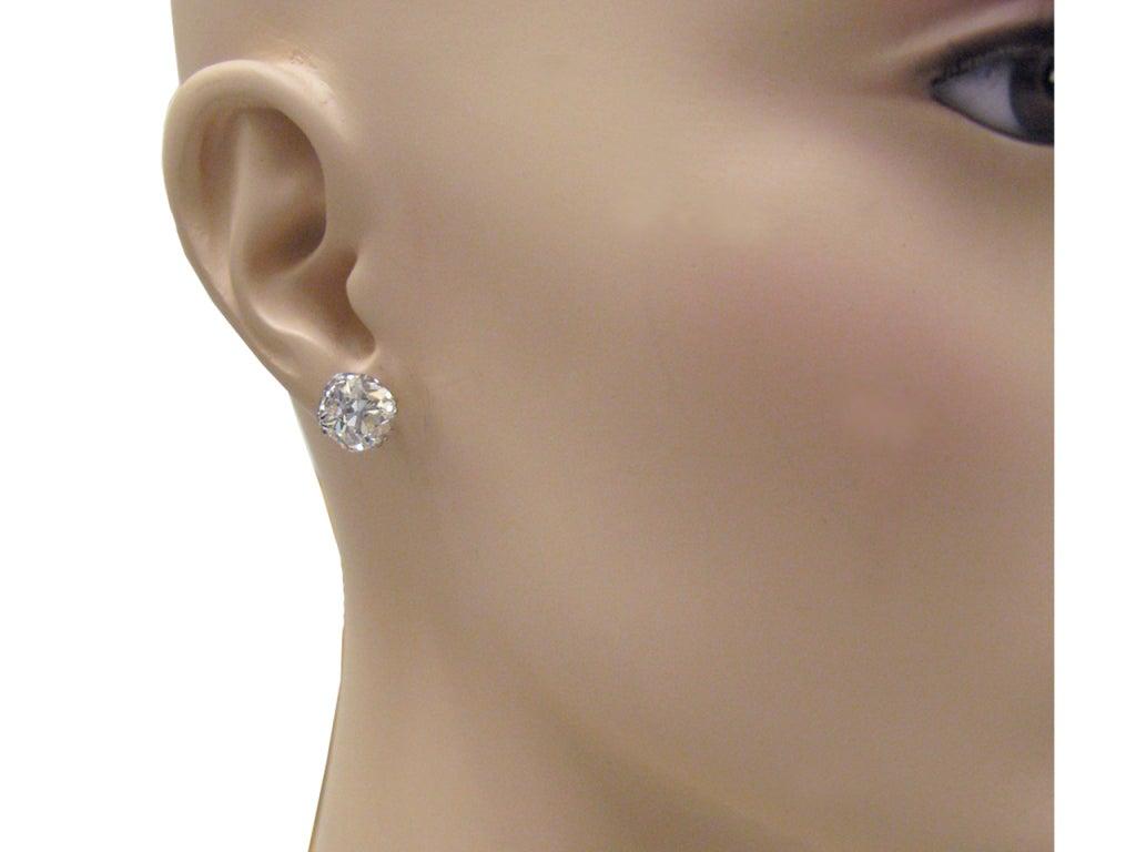 Old Mine Cushion Shape Diamond Stud Earrings, Circa 1920. 2