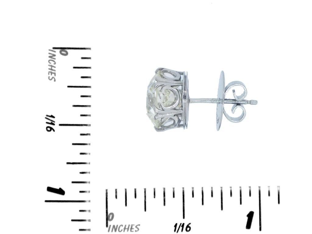 Old Mine Cushion Shape Diamond Stud Earrings, Circa 1920. 3