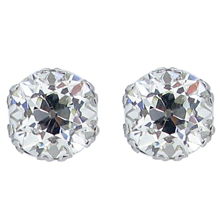 Old Mine Cushion Shape Diamond Stud Earrings, Circa 1920. 1