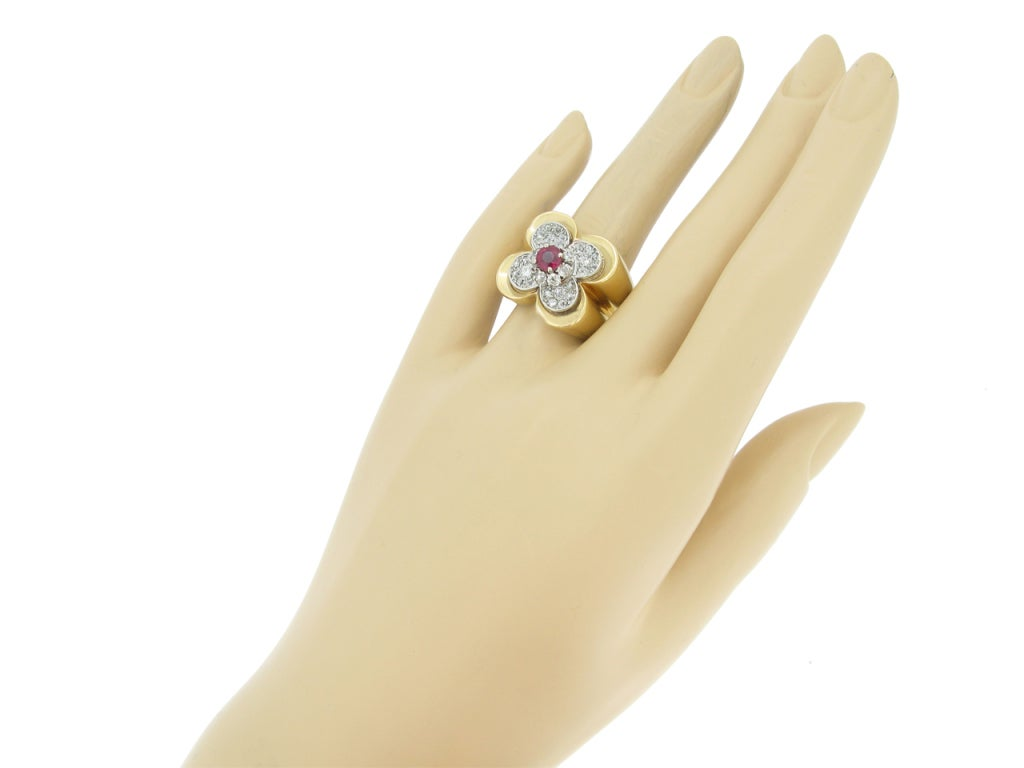 Women's Van Cleef & Arpels Natural Unenhanced Ruby and Diamond Ring, circa 1945 For Sale