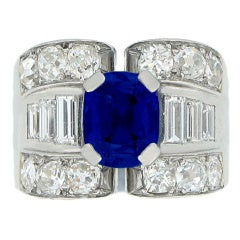 Mauboussin Natural Unenhanced Sapphire And Diamond Ring