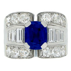 Mauboussin Natural Unenhanced Sapphire And Diamond Ring