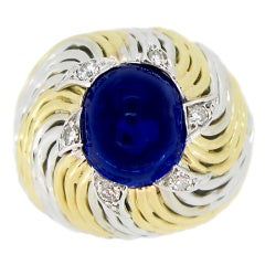 Sterle Paris Natural Unenhanced Cabochon Sapphire and Diamond Ring