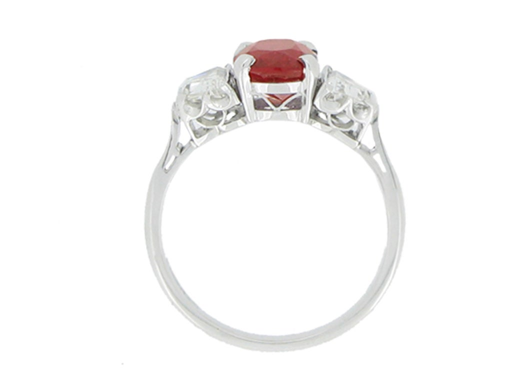 Natural Pigeon Blood Burmese Ruby And Diamond Ring For Sale At 1stdibs