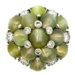 Oscar Heyman Brothers Natural Unenhanced Chrysoberyl Cats Eye and Diamond Ring
