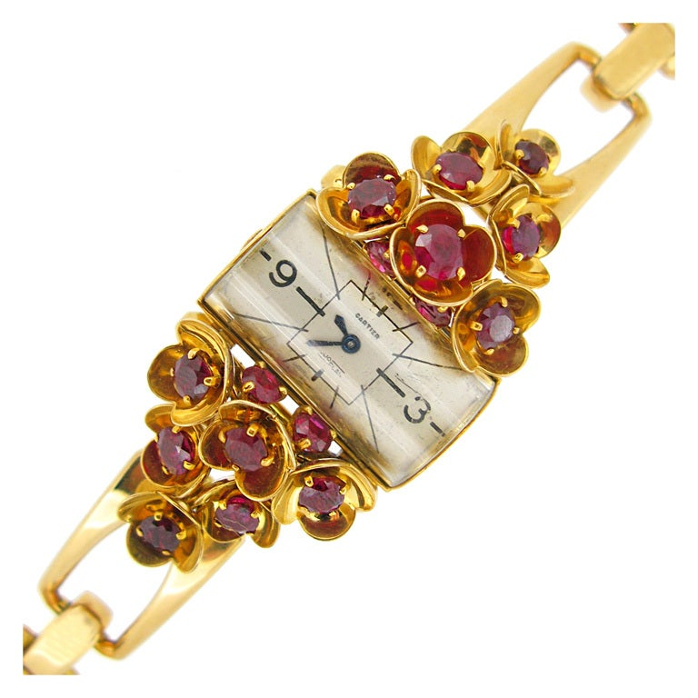 cartier s yellow gold and ruby set for sale at