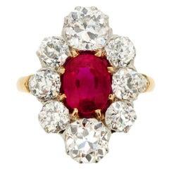Antique Natural Unenhanced Burmese Ruby Diamond Cluster Ring circa 1905