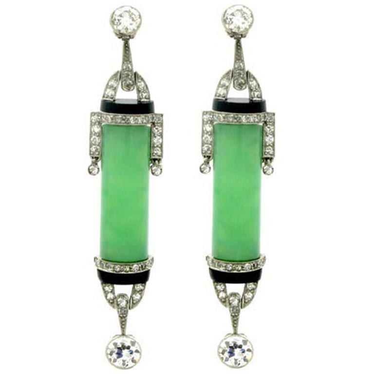 Art Deco Diamond, Jade and Onyx Earrings, circa 1925 1