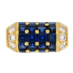 Oscar Heyman Brothers Natural Sapphire Diamond Cocktail Ring American 1960s