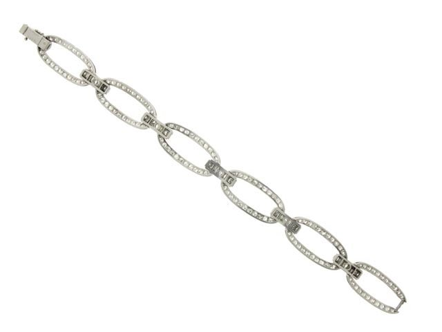 Art Deco Rare 1920s Georges Fouquet Diamond Oval Link Bracelet  For Sale