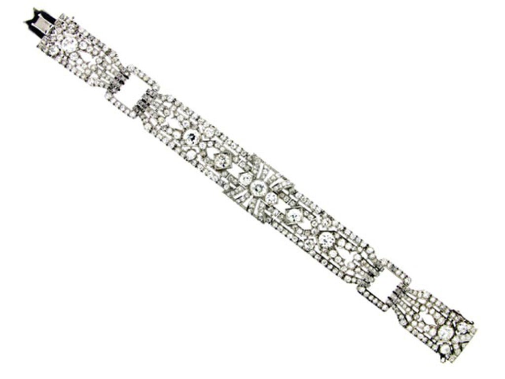 1920s Exceptional Diamond Platinum Bracelet  2