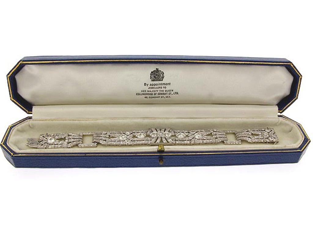 Art Deco 1920s Exceptional Diamond Platinum Bracelet  For Sale